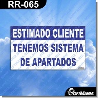 Lee el articulo completo Rotulo Prefabricado - ESTIMADO CLIENTE TENEMOS SISTEMA DE APARTADOS