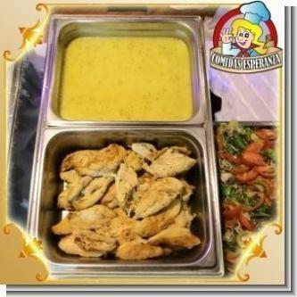 Lee el articulo completo Menu Catering Service - 01 - Filet de pollo en salsa blanca con hongos o Agridulce